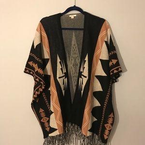 Black and Pale Pink Fringed Cardigan/Kimono, Med.